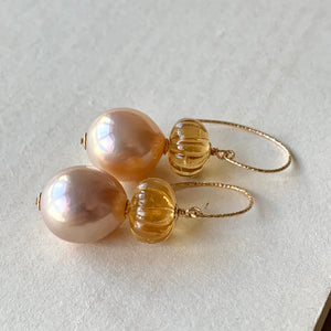 Light Peach & Citrine Pumpkin 14kGF Earrings