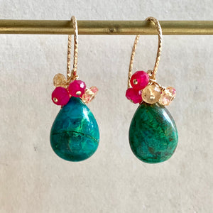 Chrysocolla Bright 14k Gold Filled Earrings
