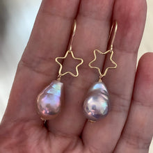 Load image into Gallery viewer, Pink Rainbow Edison Pearls & Stars 14kGF Earrings