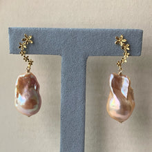 Load image into Gallery viewer, Rainbow Glow Peach Baroque Pearls on Cascading Flower Studs