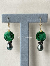 Load image into Gallery viewer, Exclusive: Peony Dark Green Type A Jadeite, Tahitian Pearls, Spinel 14kGF Earrings