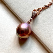 Load image into Gallery viewer, Lavender Rainbow Lustre Pearl 14k Rose Gold Filled Necklace