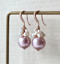 Load image into Gallery viewer, Blush Pink Edison & White Pearls Rose Gold Earrings