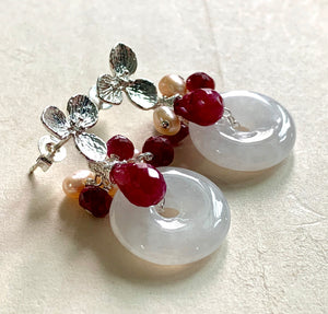 Icy White Jade with Rubies & Pearls