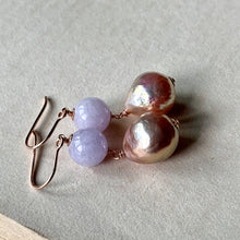Load image into Gallery viewer, Type A Lavender Jade & Rainbow Peach Edison Pearls 14kRGF