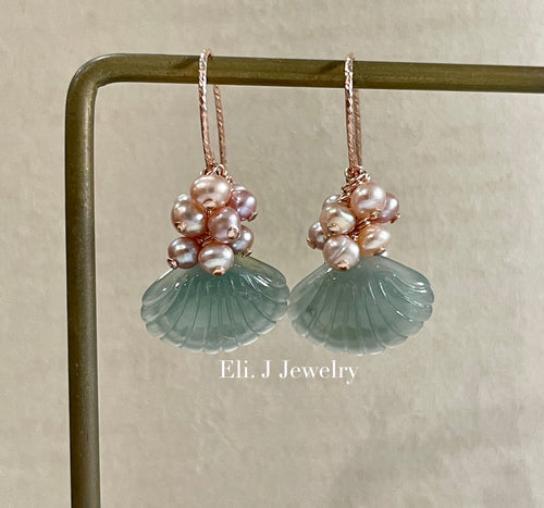 Exclusive to Eli. J: Bluish-Green Jade Shells & Blush Pearls Earrings