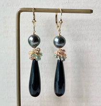 Load image into Gallery viewer, Tahitian Pearls & Black Onyx, Sapphire 14kGF Earrings