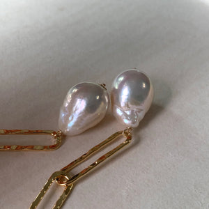 White Pearls & Hammered Gold Link Earrings