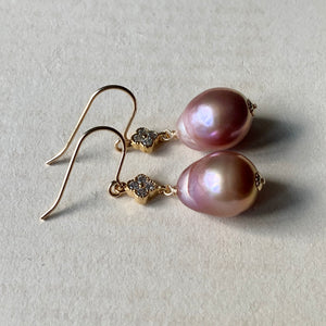Purple Edison Pearls Clover 14kGF