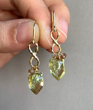 Load image into Gallery viewer, Lemon Quartz Grossular Garnet Infinity 14k Gold Filled Earrings