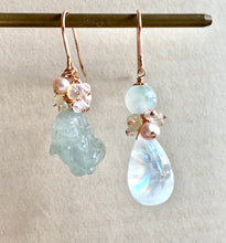Load image into Gallery viewer, Icy Green Jade Pixiu, Rainbow Moonstone 14kRGF Earrings
