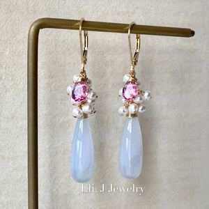 Eli. J Exclusive: Lavender Jade Drops, Pink Topaz, Pearls 14kGF Earrings