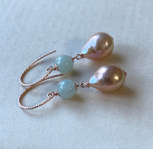 Type A Mint Green Jade & Peach Edison Pearls 14kRGF