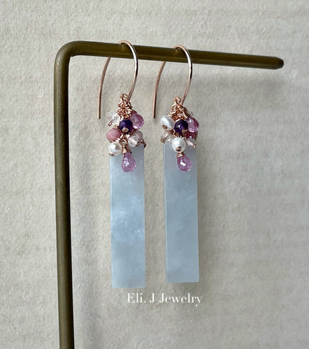 Bluish Lavender Type A Jadeite Bars, Pink Sapphire, Amethyst, Morganite 14kGF Earrings