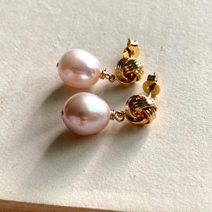 Pink Freshwater Pearls on Gold Knots