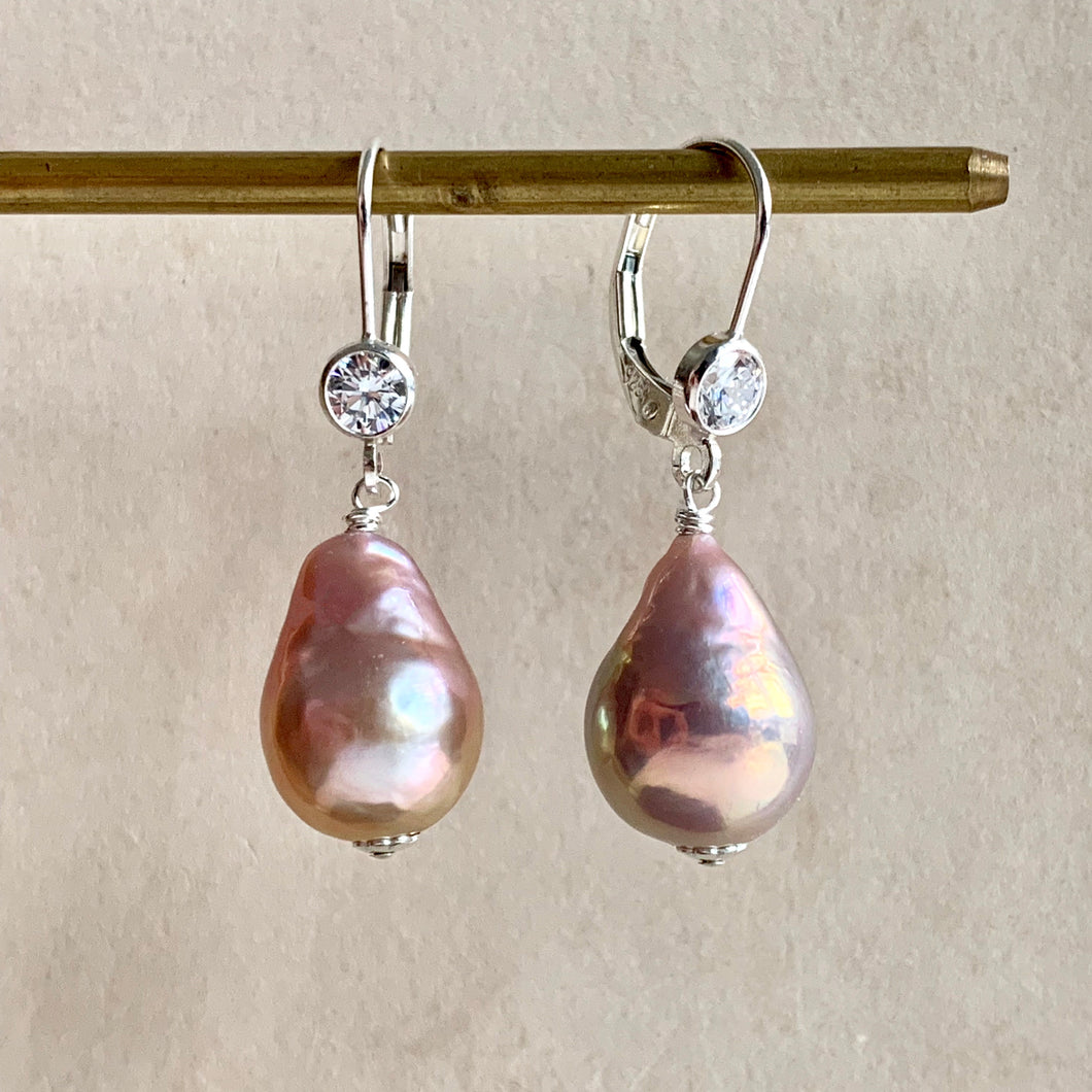 Peachy-Pink Pearls 925 Sterling Silver Leverback Earrings