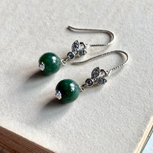 Load image into Gallery viewer, Deep Green Jade & Silver Bees 925 Earrings