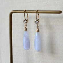 Load image into Gallery viewer, Custom-Cut Lavender Type A Jadeite Drops Classic 14kGF
