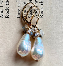 Load image into Gallery viewer, Classic White Pearls With Pyrite Labradorite Rainbow Moonstone 14k Gold Filled