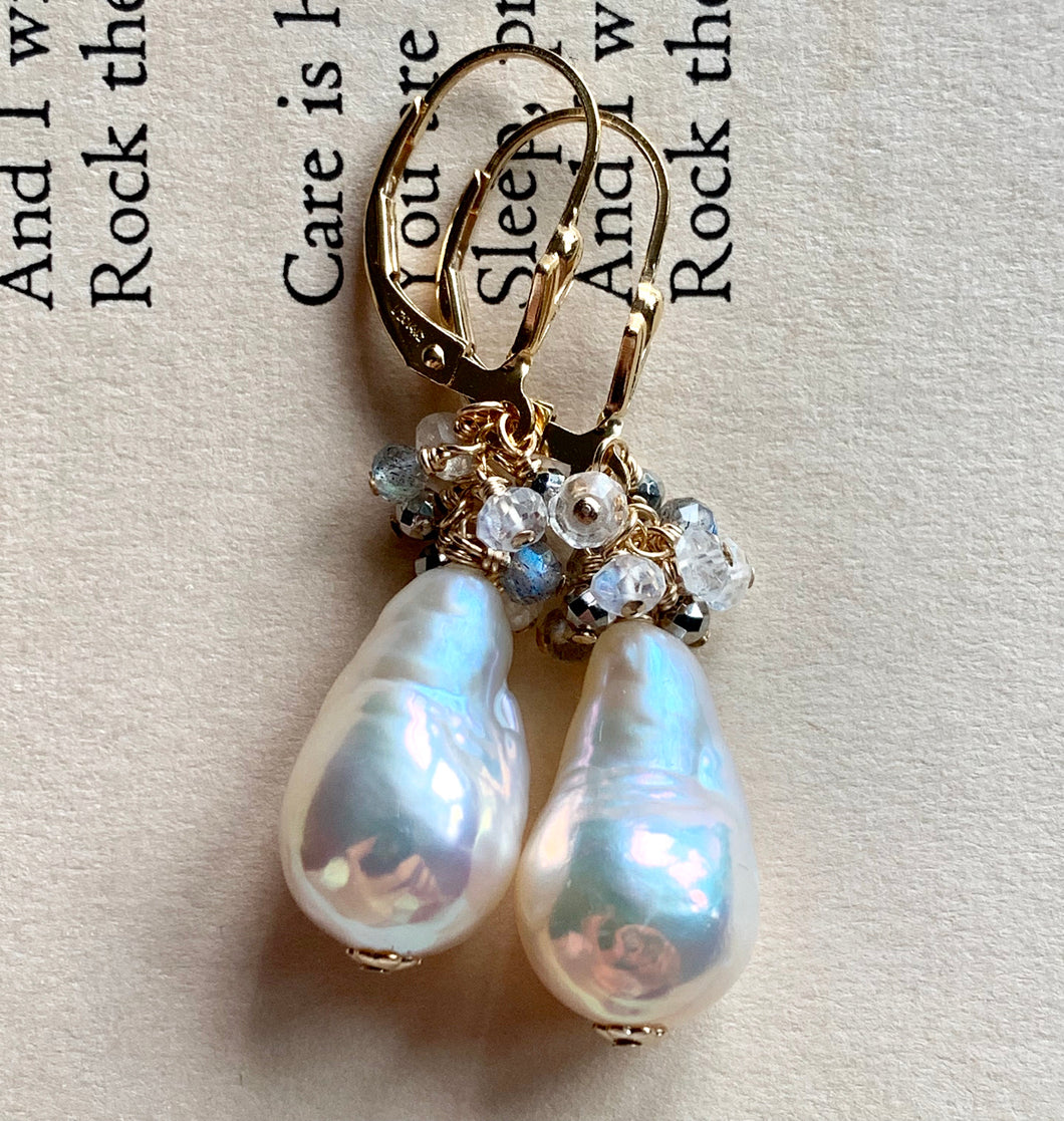 Classic White Pearls With Pyrite Labradorite Rainbow Moonstone 14k Gold Filled