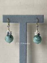 Load image into Gallery viewer, Floral Type A Jade Balls, Kyanite & Pearls 14kGF Earrings