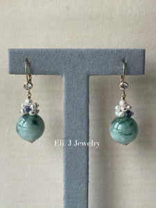 Floral Type A Jade Balls, Kyanite & Pearls 14kGF Earrings
