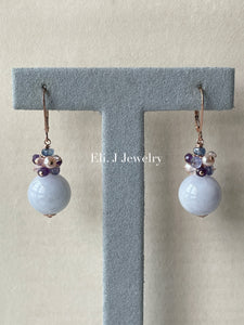 Type A Lavender Jade Balls & Purple Gems 14kRGF Earrings