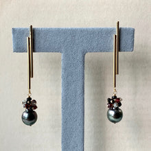 Load image into Gallery viewer, Tahitian Pearls, Garnet, Spinel, Labradorite Rock Chic Bar Studs