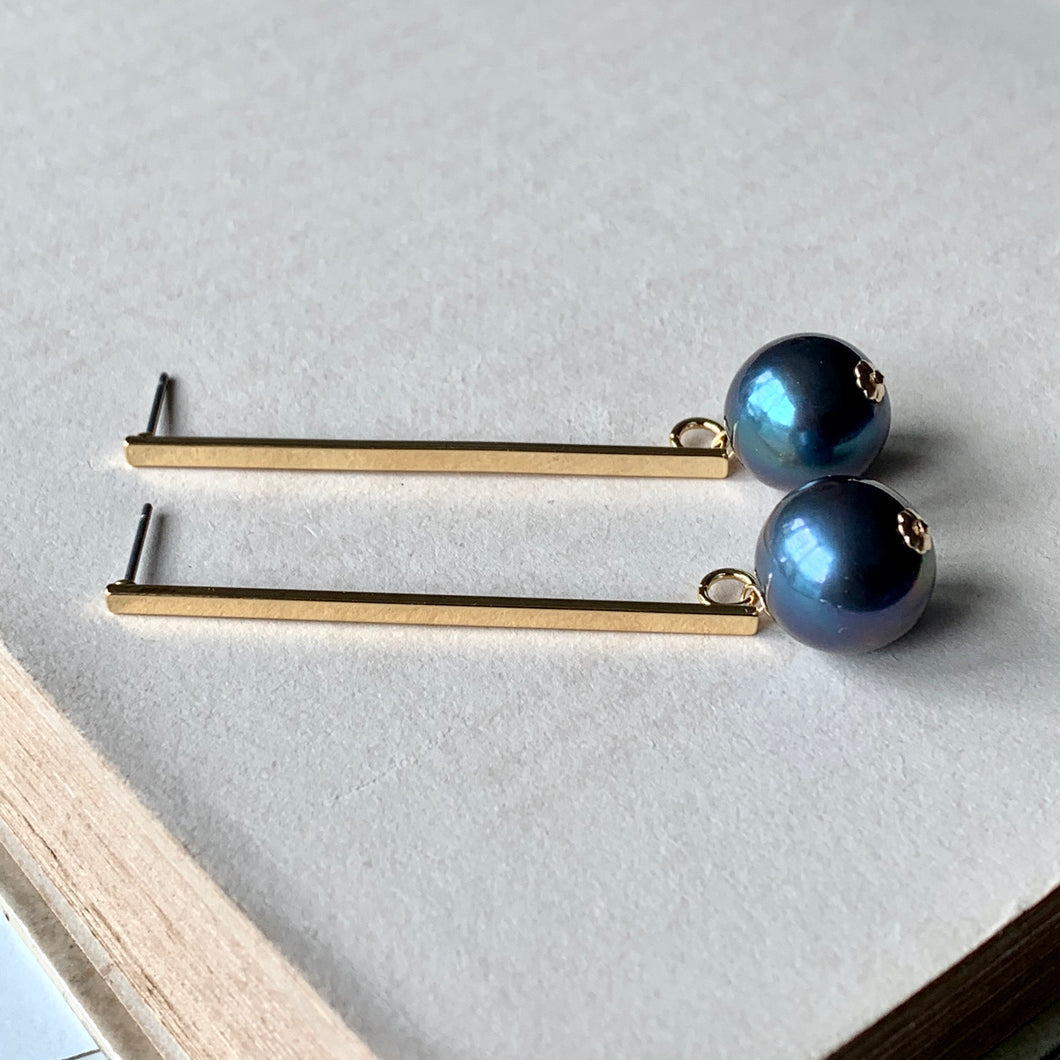 Blue-Lustre Peacock Pearls on Long Gold Bars