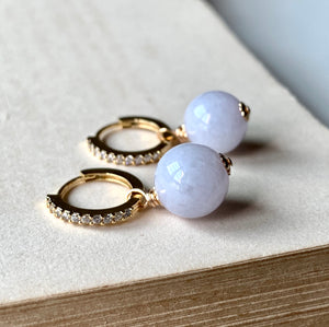 Lavender Jade on CZ Hoops