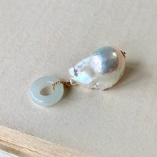 Load image into Gallery viewer, AAA White Baroque Pearl & Jade Pendant