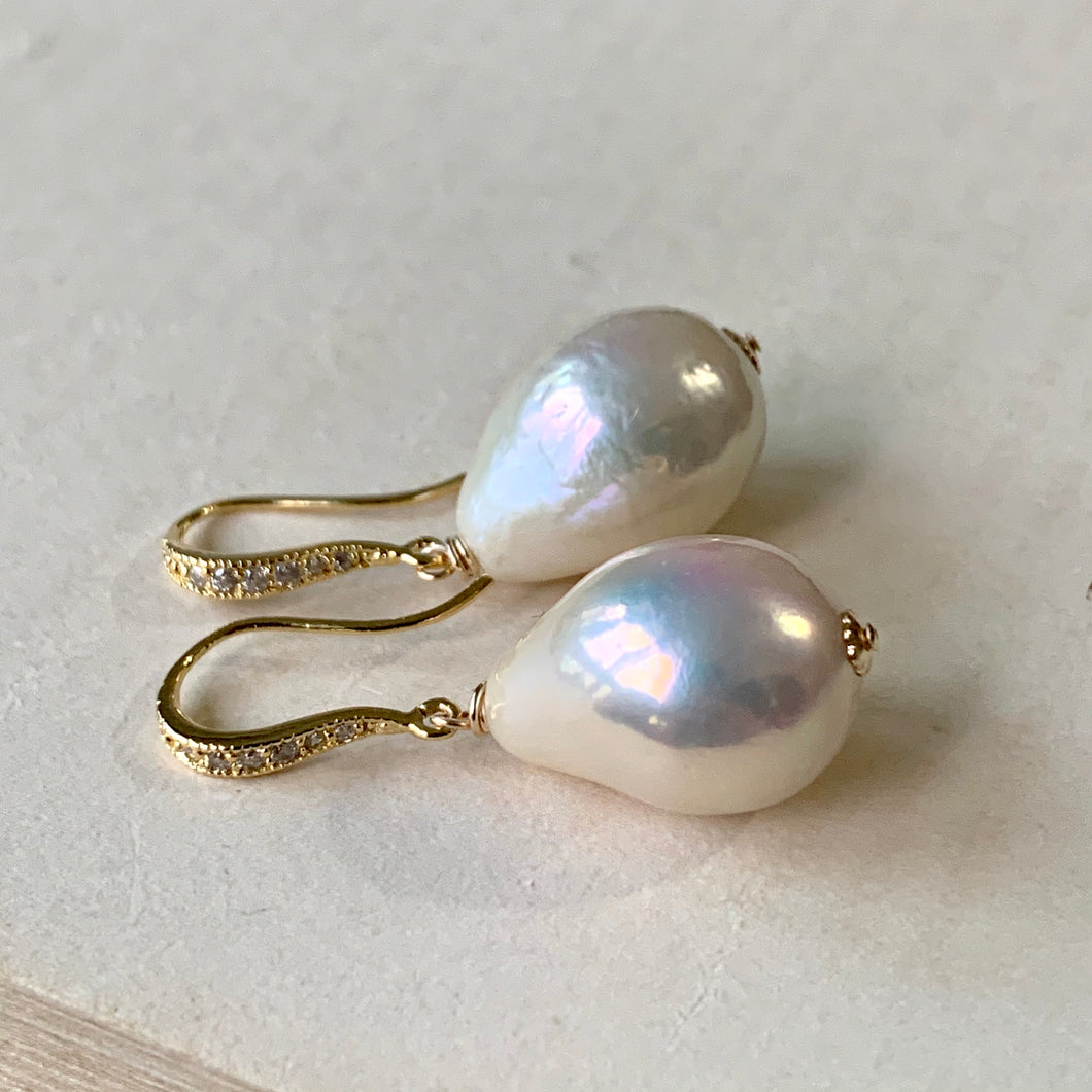 Large, Golden-Glow White  Baroque Pearls