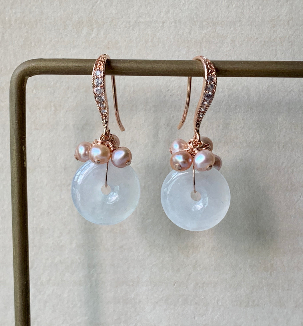Petite Jade Donuts: Icy White & Pink Freshwater Pearls