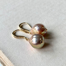 Load image into Gallery viewer, Pink Rainbow Edison Pearl Earrings Gold