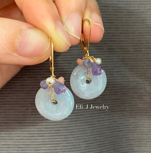 Eli. J Signature: Lavender Jade Donuts & Gems 14kGF Earrings