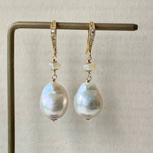 Load image into Gallery viewer, Rainbow Glow White Baroque Pearls, Opal 14kGF Earrings