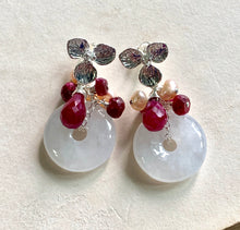 Load image into Gallery viewer, Icy White Jade with Rubies & Pearls