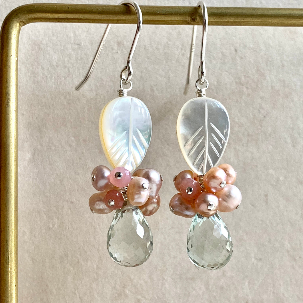 Mother of Pearl, Pink Gems & Green Amethyst Sterling Silver Earrings