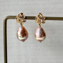 Load image into Gallery viewer, Peach-Gold AAA Edison Pearls Sweet Bouquet Studs