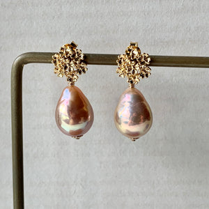 Peach-Gold AAA Edison Pearls Sweet Bouquet Studs