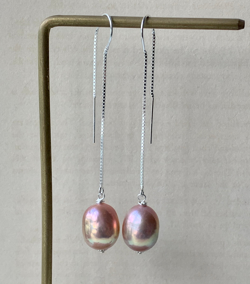 Rainbow Purple AAA Edison Pearls 925 Silver Threaders