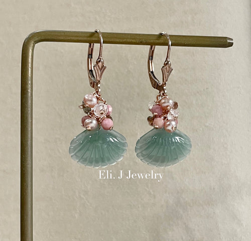 Exclusive to Eli. J: Bluish-Green Jade Shells & Pink Gemstones