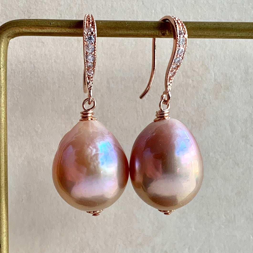 Pink Edison Pearls on Rose Gold