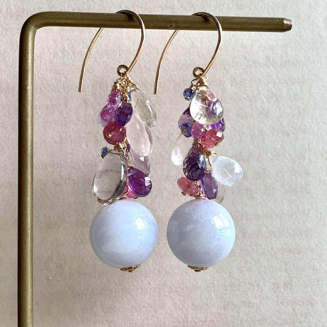 Type A Lavender Jade Balls & Gemstone Drops 14kGF Earrings