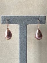 Load image into Gallery viewer, Purple-Pink Edison Drop Pearls 14kRGF Earrings