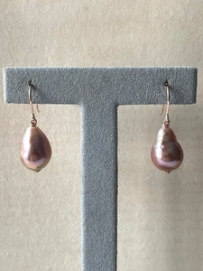 Purple-Pink Edison Drop Pearls 14kRGF Earrings