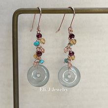 Load image into Gallery viewer, Petite Icy Faint Green Jade Donuts, Garnet, Turquoise Earrings