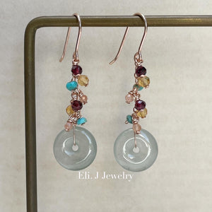 Petite Icy Faint Green Jade Donuts, Garnet, Turquoise Earrings