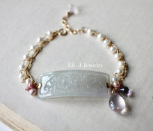 Load image into Gallery viewer, Eli. J Exclusive: Type A Carved Lavender Jadeite, Rose Quart, Pearls Bracelet 14kGF
