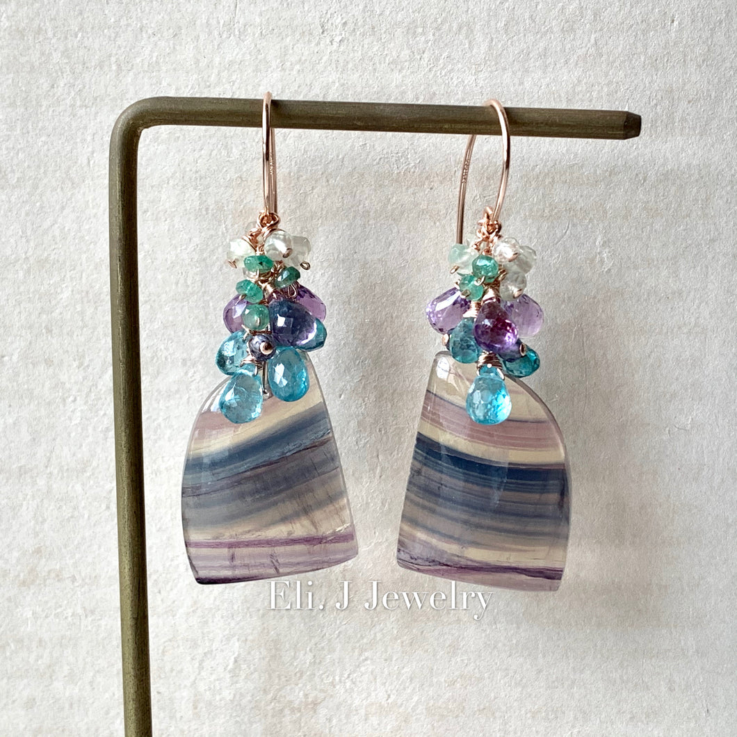 Northern Lights, Norway- Fluorite, Apatite, Pink Amethyst 14kRGF Earrings